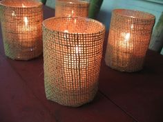 I like the burlap...cute idea for some votive candles on table that are set around the flower arrangement for rehearsal dinner