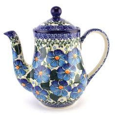 Excellent combination of an elegant teapot and fantastic pattern no 293. Love it! See more Polish Pottery at http://slavicapottery.com