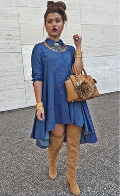 Blue Denim Collared Shirt Long Sleeved Midi Dress