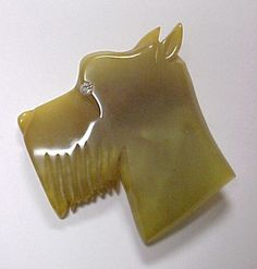 CARVED BAKELITE Terrier Dog BROOCH