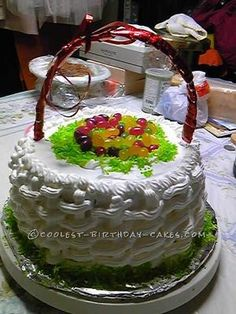 Coolest Easter Basket Cake... This website is the Pinterest of homemade birthday cakes