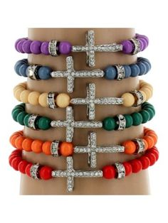 One Crystal Accented Small Cross Beaded Stretch Bracelet...pretty