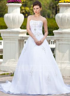 Wedding Dresses - $194.99 - Ball-Gown Sweetheart Chapel Train Satin Tulle Wedding Dress With Embroidery Beadwork (002000299) http://jjshouse.com/Ball-Gown-Sweetheart-Chapel-Train-Satin-Tulle-Wedding-Dress-With-Embroidery-Beadwork-002000299-g299
