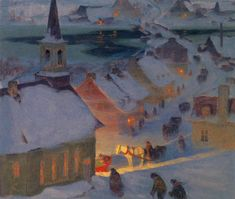 Christmas Mass, by Canadian Impressionist Clarence Gagnon, 1908 Canadian Painters, Canadian Artists, Winter Painting, Winter Art, Nocturne, Clarence Gagnon, Hunters In The Snow, Group Of Seven Paintings, Illustrations
