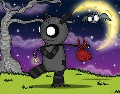 'Little Traveler' a strangeling that loves to travel with his bat #strangeling #strangelings #strangelingsfactory #littlebitcreepie #voodoo #voodoodoll #bat #skull #skellie #creepycute #halfmoon #lowbrow #lowbrowart #bigeyes #bigeyedart #digitalart #digitalpainting #art #digital #painting #drawing #gothicart #gothart #gothic #goth #dark #creepy #spooky #kristiesilva