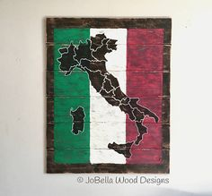 Map of Italy Distressed Wood Painting W/Flag Colors
