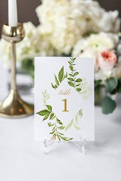 Greenery Wedding Modern Wedding Seating Chart Table Numbers