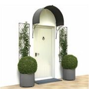 Deep arched door canopies made from steel and galvanized in zinc from Garden Requisites