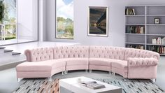 Meridian Furniture Anabella 4 Cream Modular curved large living room cream velvet sectional Sit back and relax after a long Blue Sectional, Tufted Sectional, Modern Sectional, Gebogenes Sofa, Sofa Upholstery, Sofa Design, Curved Couch, Meridian Furniture, Coaster Furniture