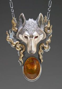 Handcrafted Silver Jewelry Wolf Jewelry Pendant by Brooke Stone, Eugene, Oregon