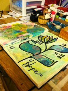Art Journal Peek #hope #artjournal #mixedmedia #journal #art #painting #paint #flower #color