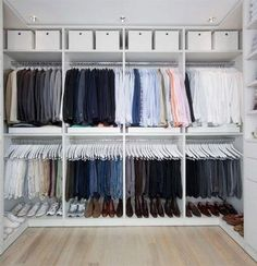 for our master closet! 43 Organized Closet Ideas - Dream OCD loves this Do you know a someone who appreciates style, design and a clean & organised space? Our Classic 6 is just for them. Gift up! - Home Decorating Magazines Smart closet organization ideas Bedroom Closet Design, Master Bedroom Closet, Closet Designs, Bedroom Closets, Diy Bedroom, Bedroom Ideas, Bedroom Shelves, Bed Designs, Master Bedrooms