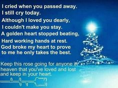 In memory of Truman my dad, Marsh my nandad, Doug my brother, Danny and Jo mother in law and father in law, my mom Anita and Marylyn my mother in law miss each of you so much ! See you in heaven.