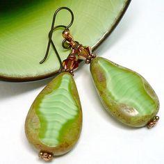 Lime Green Czech Picasso Crystal Copper Niobium Dangle BOHO Earrings  @katsallthat