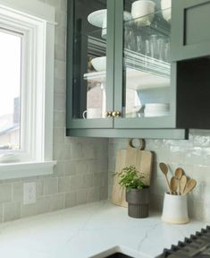 The Fresh Appeal of Green Cabinets - Classic Casual Home Green Cabinets, Desk Areas, The Fresh, Natural Wood, Kitchen Decor, Family Room, Tiles, Layout, Classic