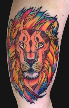 Pen and Ink Lion Tattoo by Jamie Lee Parker: TattooNOW :