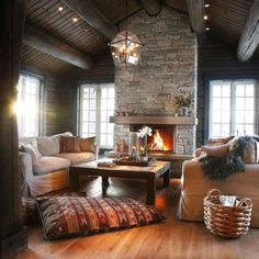 Cozy livingroom - Architecture and Home Decor - Bedroom - Bathroom - Kitchen And Living Room Interior Design Decorating Ideas - Cabin Homes, Log Homes, Interior Exterior, Interior Architecture, Room Interior, Sweet Home, Foyers, Cozy House, Home And Living