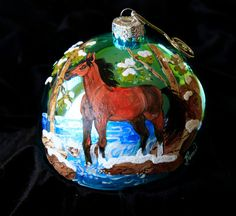 Hand Painted Ornament-Horse in Snow-Item by reneesprettypainted