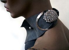 "Necklace | Aliki Stroumpouli. ""Fly's eyes, 2009"". Silver, leather"