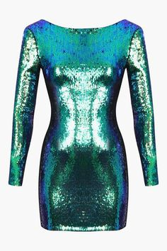 Green Aqua Sequin Bodycon Long Sleeve Mini Dress