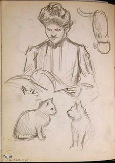 Edmond-Joseph Massicotte, Jeanne Veillette lisant, et études de chats, entre 1906 et 1908. Mine de plomb sur papier, 13,7 x 10 cm. Collection MNBAQ. #mnbaq #MuseumCats