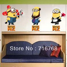 Wholesale Mural Painting - Buy 3 Minions Despicable Me 2 Wall Stickers Wall Decal Removable Art Home Mural Deco Top-Me-TM1405, $3.85   DHgate