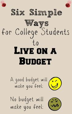 Six Simple Ways for College Students to Live On a Budget