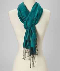 Take a look at this Teal Paisley Silk Scarf by Rapti on #zulily today!