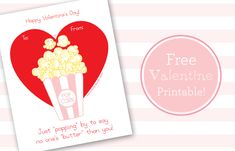 Valentine's Day popcorn free printable tag - great gift idea!