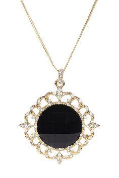 Riccova - crystal and black stone circle pendant necklace