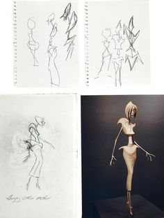 """Concept drawings of the Evil Other Mother drawn by the film's director Henry Selick. Two of the concept artwork pieces of the body of Evil Other Mother are drawn on binder paper. Selick's design concept sketches also include a third, full-figure, drawing of the Evil Other Mother labeled """"Hungry Other Mother"""" done in graphite on vellum. Also, a photograph of the Animator's Maquette of the Evil/Hungry Other Mother that the sketches helped to develop."""