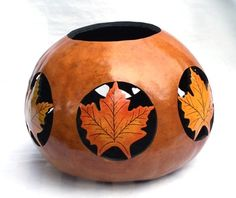Gloria Christian, Gloria's Gourd Art: Six different colored Maple leaves cut out. 8 inches tall and 31 inches around. Hand Painted Gourds, Decorative Gourds, Coconut Shell Crafts, Gourds Birdhouse, Gourd Lamp, Jar Art, Nature Crafts, Pyrography, Rock Art