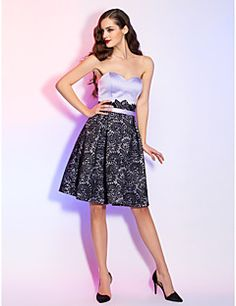 A-line Sweetheart Knee-Length Satin And Lace Cocktail Dress. Get sizzling discounts up to 70% Off at Light in the box using Coupons.