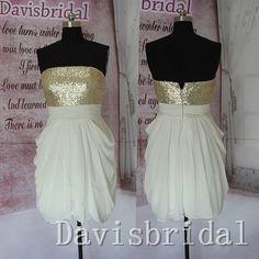Hot sales strapless champagme sequin white chiffon short bridesmaid dress,high low mini length bridesmaid dress,homecoming dress prom dress on Etsy, $89.99