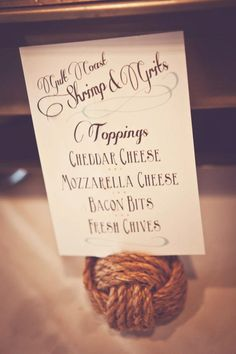 Food descriptions for a nautical wedding- Aimee Reynolds Photography -- Designed by @Evey Bell
