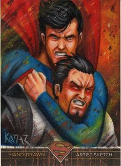 Superman vs Zod SUPERMAN THE LEGEND Artist Proof sketch card BY FRANK A. KADAR