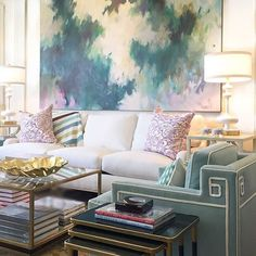 teal chair and lavender pillows | abstract art by joyce howell | blue print | blueprintstore.com