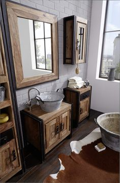 badmöbel rustikal badspiegel mit holzrahmen | Badezimmer ... | {Badmöbel modern braun 60}