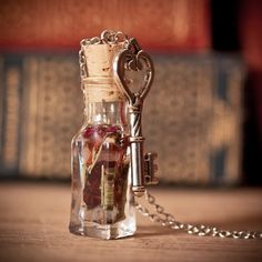 love potion bottle   Magic Love Potion Bottle Necklace with Skeleton Key