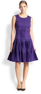 Oscar de la Renta Pleated Drop-Waist Dress