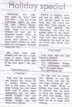 """Grandma Lil's Chitterlings (""""Chitlins"""") and Pigs' Feet Recipes featured in the food section of the Kentucky Post and Times Star, 1971."""