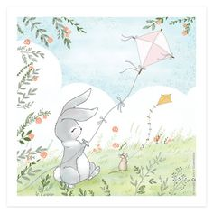 Bunny with Kite Digital Print by Micush on Etsy