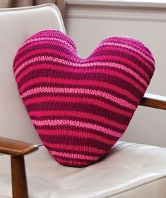 Free heart pillow pattern from Red Heart Cable Knitting Patterns, Love Knitting, Crochet Patterns, Heart Cushion, Heart Pillow, Pillow Talk, Pillow Fight, Red Heart Free Patterns, Cotton Cord