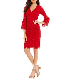 2788cb8c5a52 Maggy London V-Neck Bell Sleeve Lace Sheath Dress