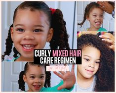 CURLY MIXED HAIR CARE ROUTINE FOR TODDLERS#care #curly #hair #mixed #routine #toddlers Mixed Kids Hairstyles, Kids Curly Hairstyles, Fast Hairstyles, Mixed Curly Hair, Mixed Hair Care, Curly Hair Routine, Hair Care Routine, Denman Hair Brush, Biracial Hair Care