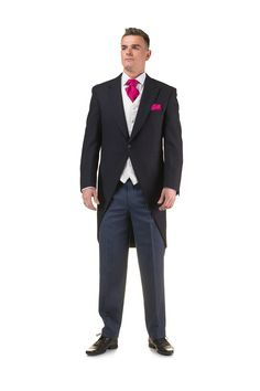 Navy tailcoat with striped trousers and bright pink pocket square and cravat - http://formallyyours.co.uk/  #wedding #suit #tailoring