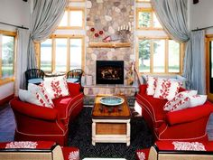 Trendy Ideas For Living Room Red Sofa Interior Design Fireplaces Living Room Interior, Interior Design Living Room, Living Room Designs, Stone Fireplace Designs, Fireplace Surrounds, Brick Fireplace, Living Room Red, Living Room With Fireplace, Natural Stone Fireplaces