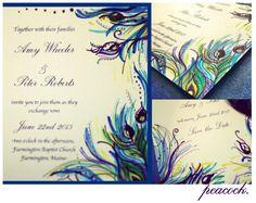 Unique Handpainted Peacock Wedding Invitations by PaintedPostmail, $20.00