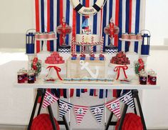 Jayne L's Birthday / Nautical - Photo Gallery at Catch My Party Sailor Birthday, Sailor Party, 1st Boy Birthday, Birthday Parties, Nautical Birthday Cakes, Nautical Party, Nautical Backdrop, Thanksgiving Diy, Baby Shower Themes