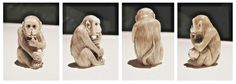 Netsuke a carved button like ornament, especially of ivory or wood, formerly worn in Japan to suspend articles from the sash of a kimono.